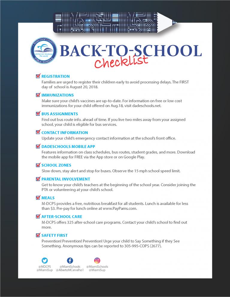 Back To School Checklist English