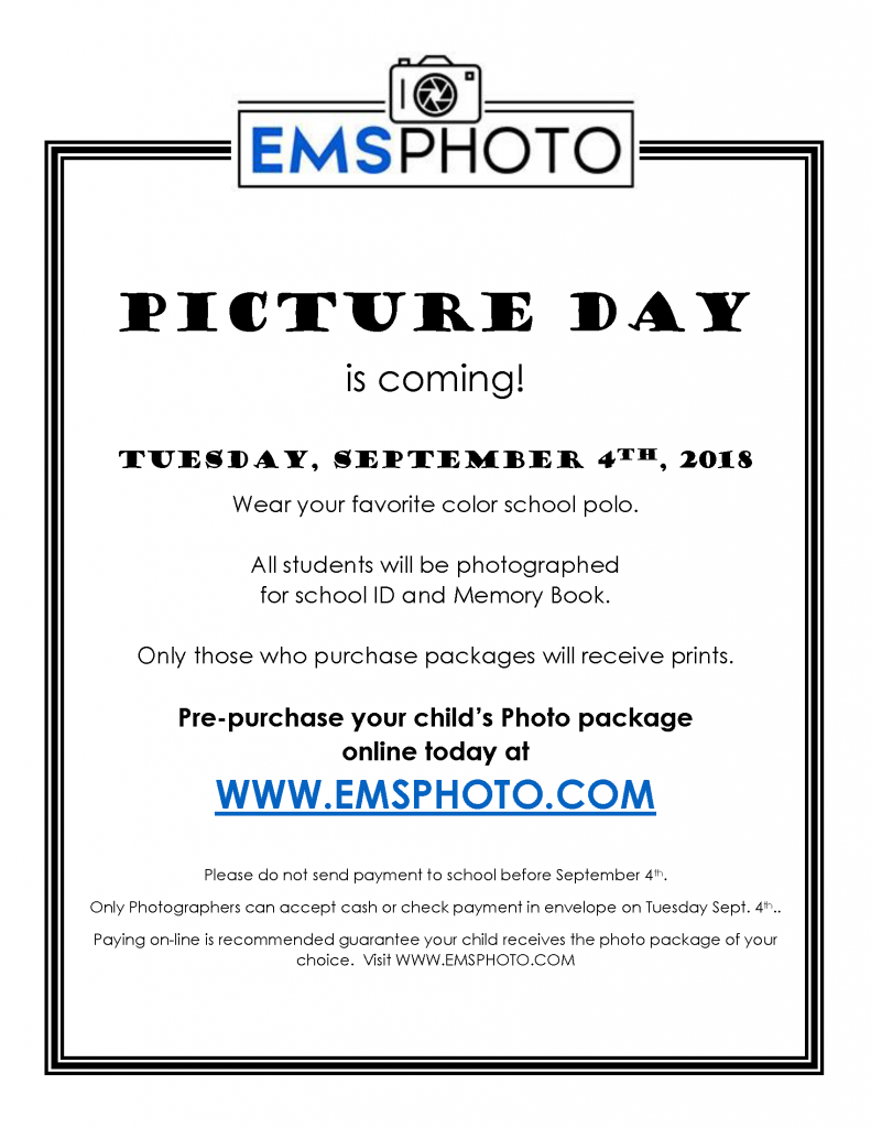Sunset Elementary picture day flyer