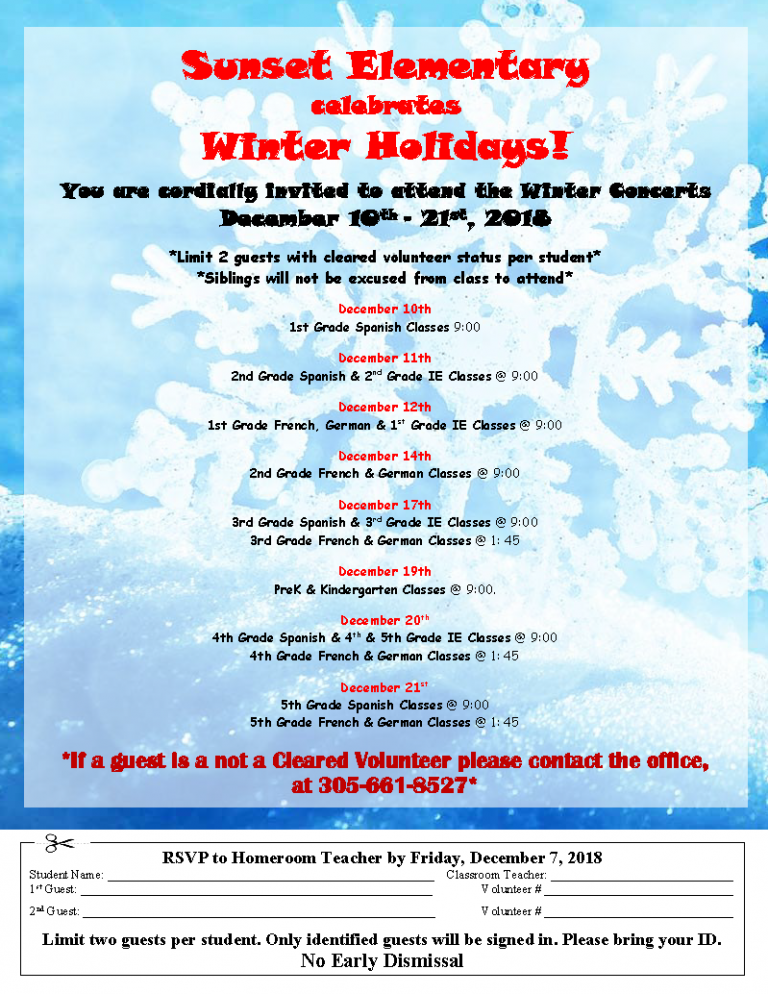 Winter Concerts and Activities Flyer