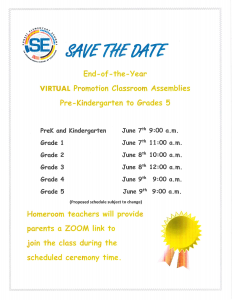 PK and K: End-of-Year Virtual Promotion Classroom Assemblies